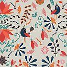 Funky folk art flower and bird design by ahahdodo