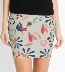 Funky folk art flower and bird design Mini Skirt