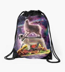 Rainbow Space Llama On Pug Riding Taco Turnbeutel
