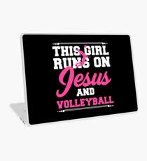 Lustiges Mädchen-Jesus-Volleyball-Kleid Laptop Folie