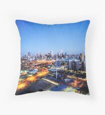 Melbourne Night Scape Throw Pillow