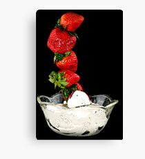 Dipping Strawberries Canvas Print