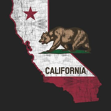 California State Map - Cali Grizzly Bear by crouchingpixel
