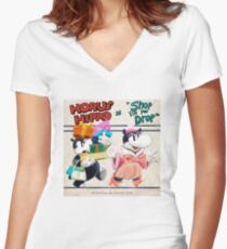 """Horus Hippo in """"Shop 'Till You Drop"""" Fitted V-Neck T-Shirt"""