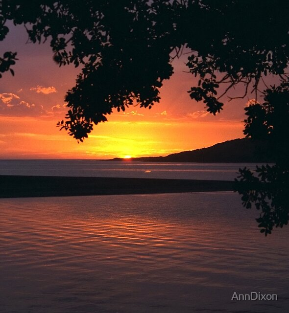 Sun Setting Over Raglan North Island New Zealand by AnnDixon