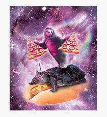 Space Pizza Sloth On Turtle Unicorn On Hotdog Photographic Print