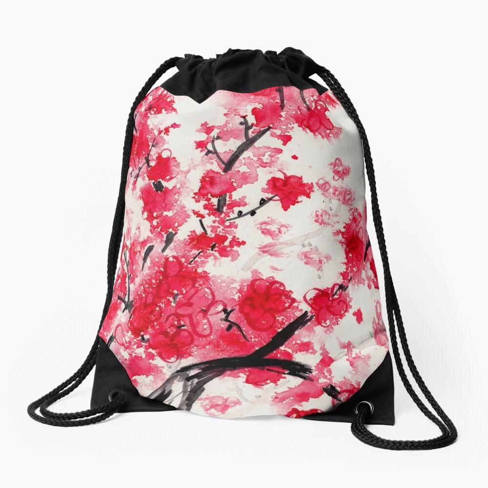 Cherry Blossoms Drawstring Bag