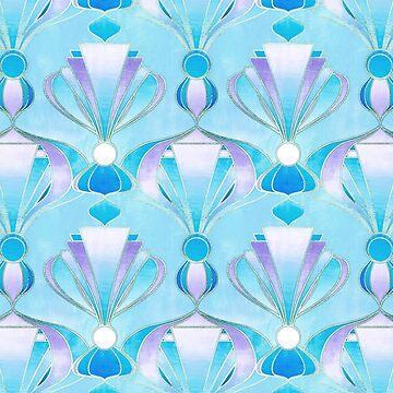 Blue, Purple & Silver Art Deco Pattern by micklyn