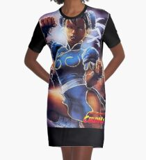 Chun-Li Street Fighter 2 Fan print Graphic T-Shirt Dress