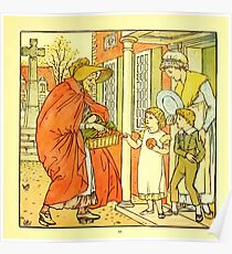 The Baby's Boquet - A Fresh Bunch of Old Rhymes and Tunes - by Walter Crane - 1900-15 Hot Cross Buns Plate Poster