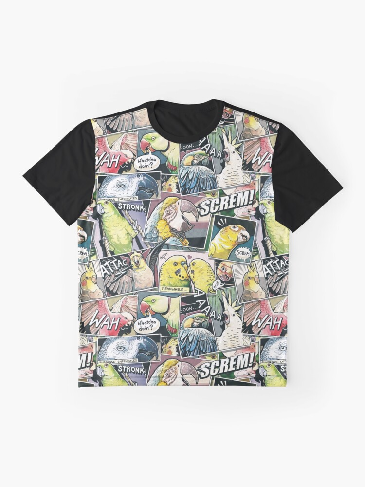 Vista alternativa de Camiseta gráfica Loros estilo comic