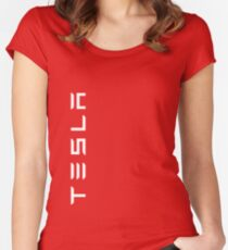 TESLA VERTICAL - White Name Fitted Scoop T-Shirt