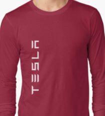 TESLA VERTICAL - White Name Long Sleeve T-Shirt