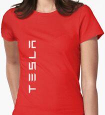 TESLA VERTICAL - weißer Name Tailliertes T-Shirt