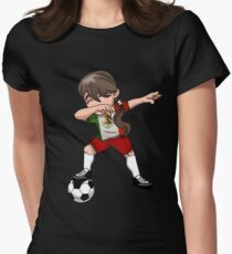 Mexican Dabbing Soccer Girl Soccer Pride Mexico Football Gift Mexico Flag Gift Shirt Sweater Hoodie Iphone Case Coffee Mug Gift Women's Fitted T-Shirt