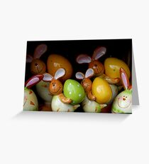 Easter Bunnies with their eggs Greeting Card