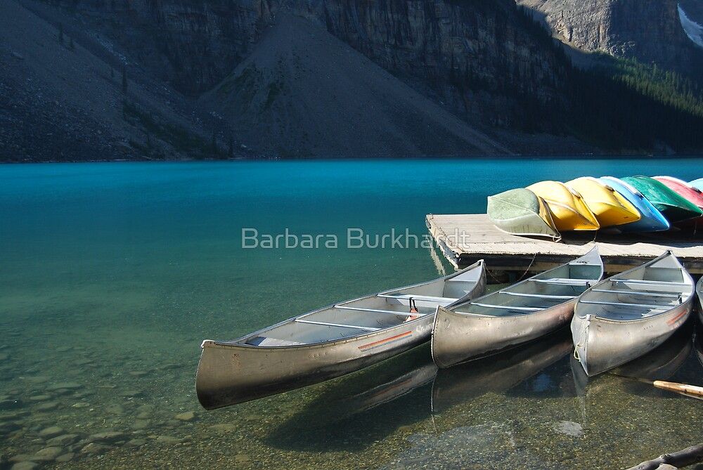 Canoes on Moraine Lake by Barbara Burkhardt