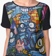 Cartoon character on a wall Chiffon Top
