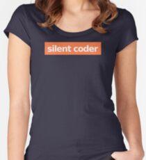 Silent Coder - Orange Women's Fitted Scoop T-Shirt