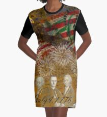 4th of July Celebration Graphic T-Shirt Dress