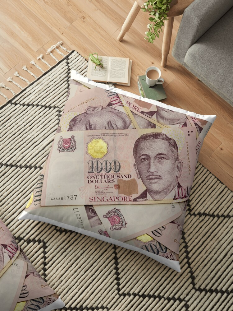 'Singapore currency one thousand dollars bill notes closeup macro  background' Floor Pillow by jpldesigns