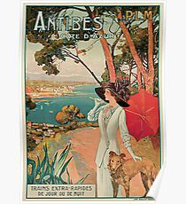 Vintage Antibes French Riviera Cote d'Azur ad Poster