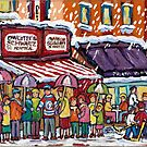 SNOWY MONTREAL STOREFRONT WINTER SCENE PAINTINGS FOR SALE CANADIAN ART C SPANDAU HOCKEY KIDS ARTIST by Carole  Spandau
