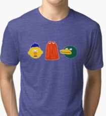 YELLOW, RED, DUCK - on blue Tri-blend T-Shirt