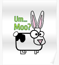 Funny Cow Bunny Shirt Cute Holstein Rabbit Boys Girls Gift Um Moo? Poster