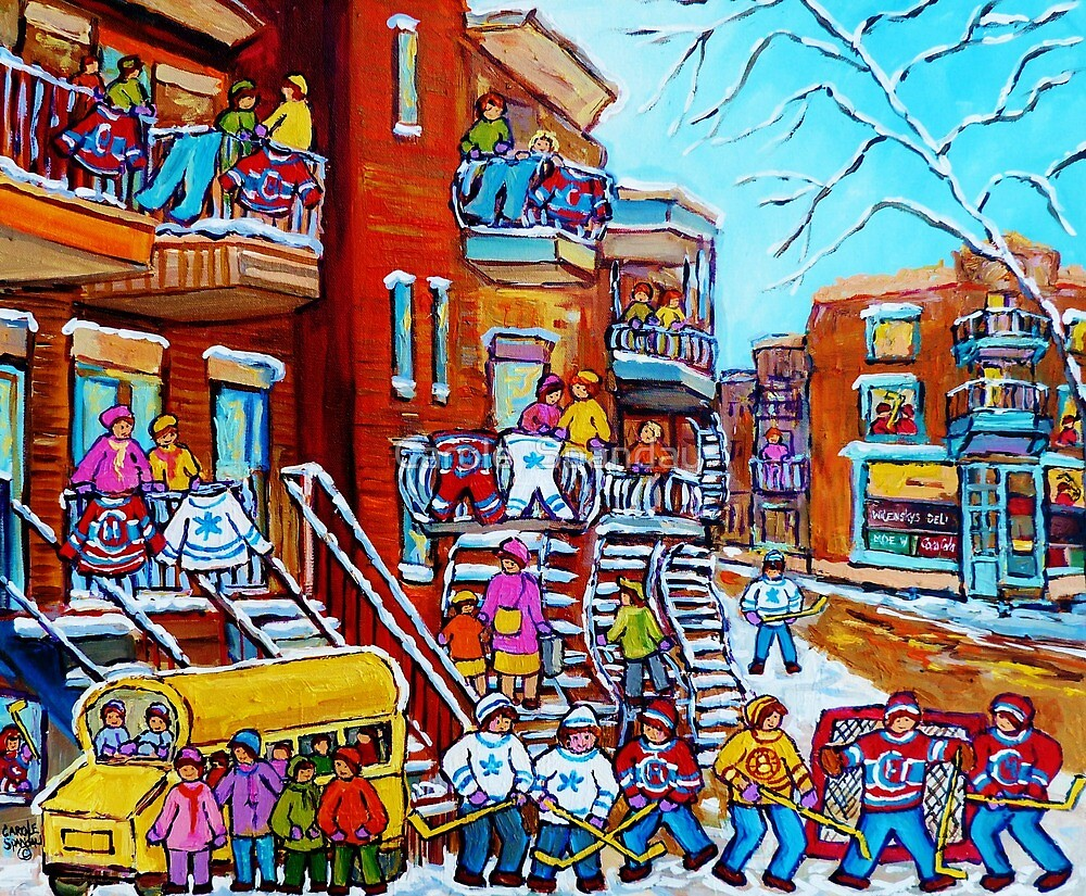 Original Paintings Of Montreal For Sale Winter Scene Hockey