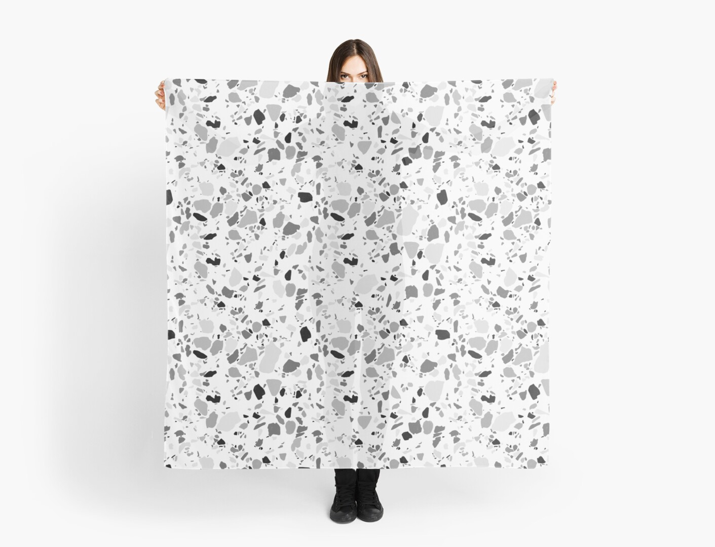 Terrazzo pattern in black and white in pencil by shoshannahscrib