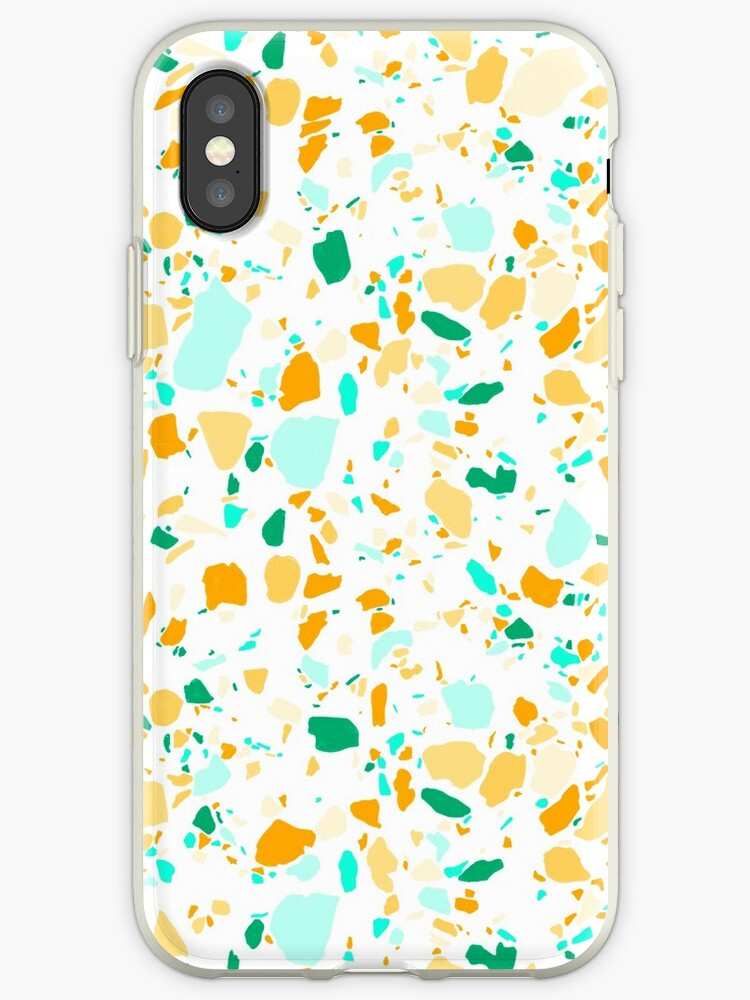 Terrazzo pattern in green and gold hand drawn by shoshannahscrib