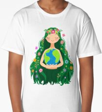 Beautiful Flowing Flower Earth Mother Figure  Long T-Shirt