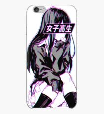 SCHOOLGIRL (Glitch) - Sad Japanese Anime Aesthetic iPhone Case
