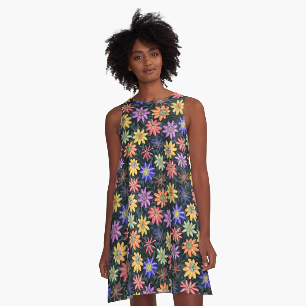 Pattern #77 - Passion flowers  A-Line Dress Front
