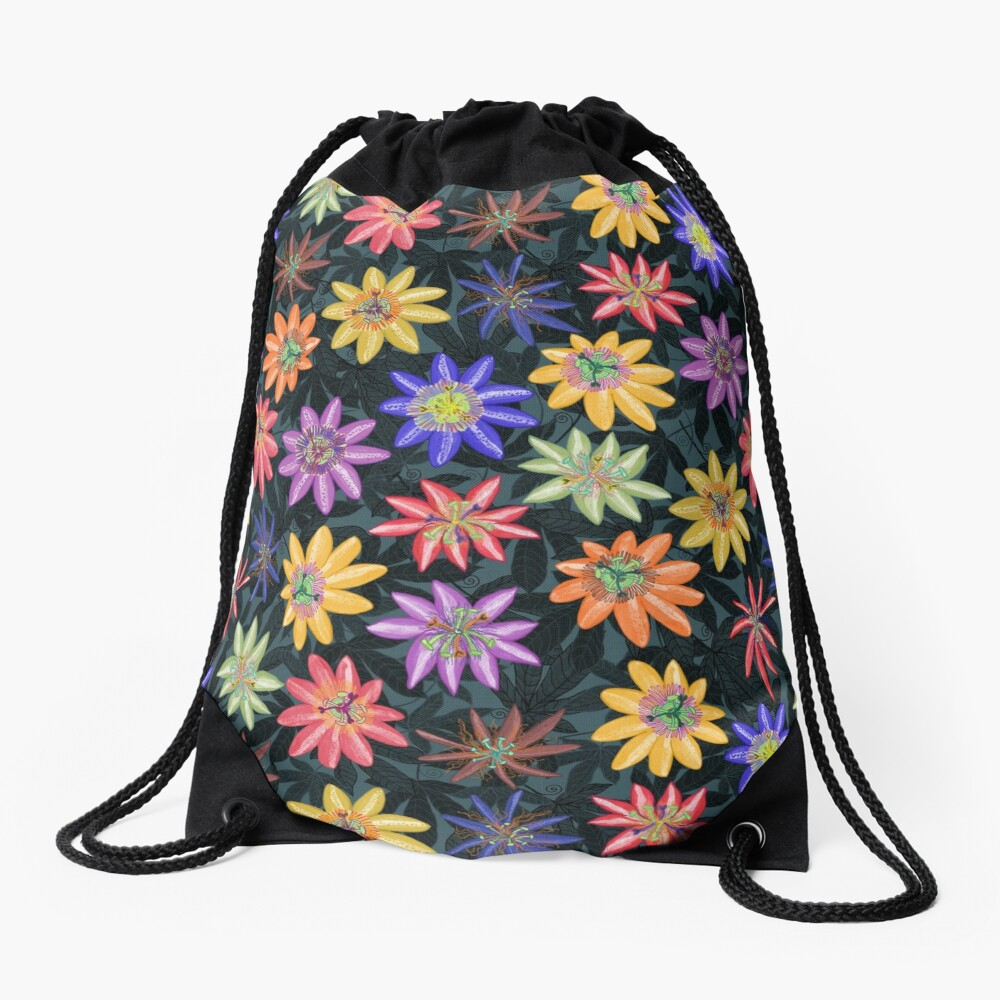 Pattern #77 - Passion flowers  Drawstring Bag Front
