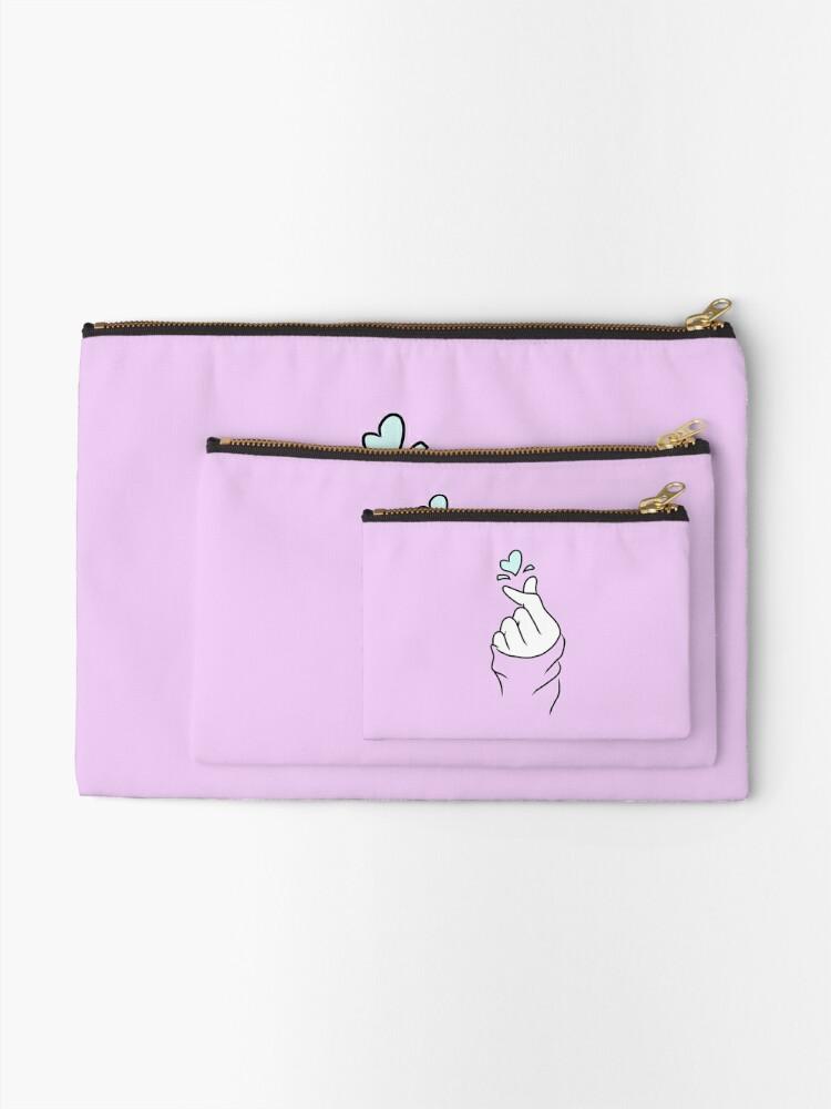Alternate view of Cute Heart~ Pastel Purple Zipper Pouch