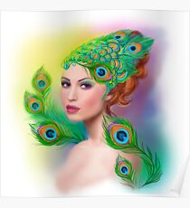 Beautiful Fashion spring woman face.Peacock  Poster
