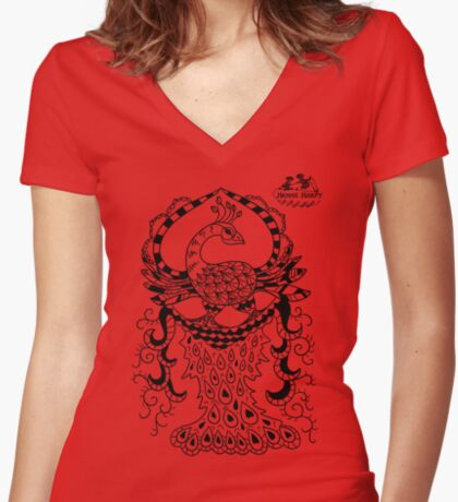 Peacock#2 Women's Fitted V-Neck T-Shirt