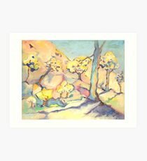 Blue and his Yellow Friends. Art Print