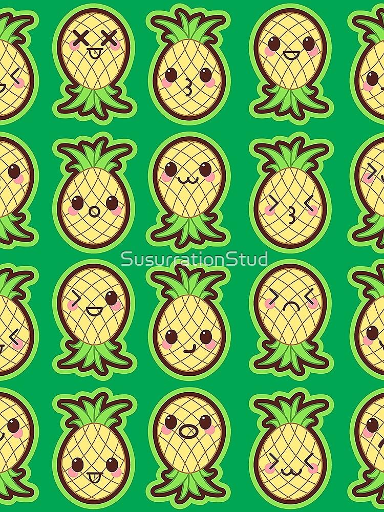 Kawaii Pineapples Cute Pattern Wallpaper by SusurrationStud