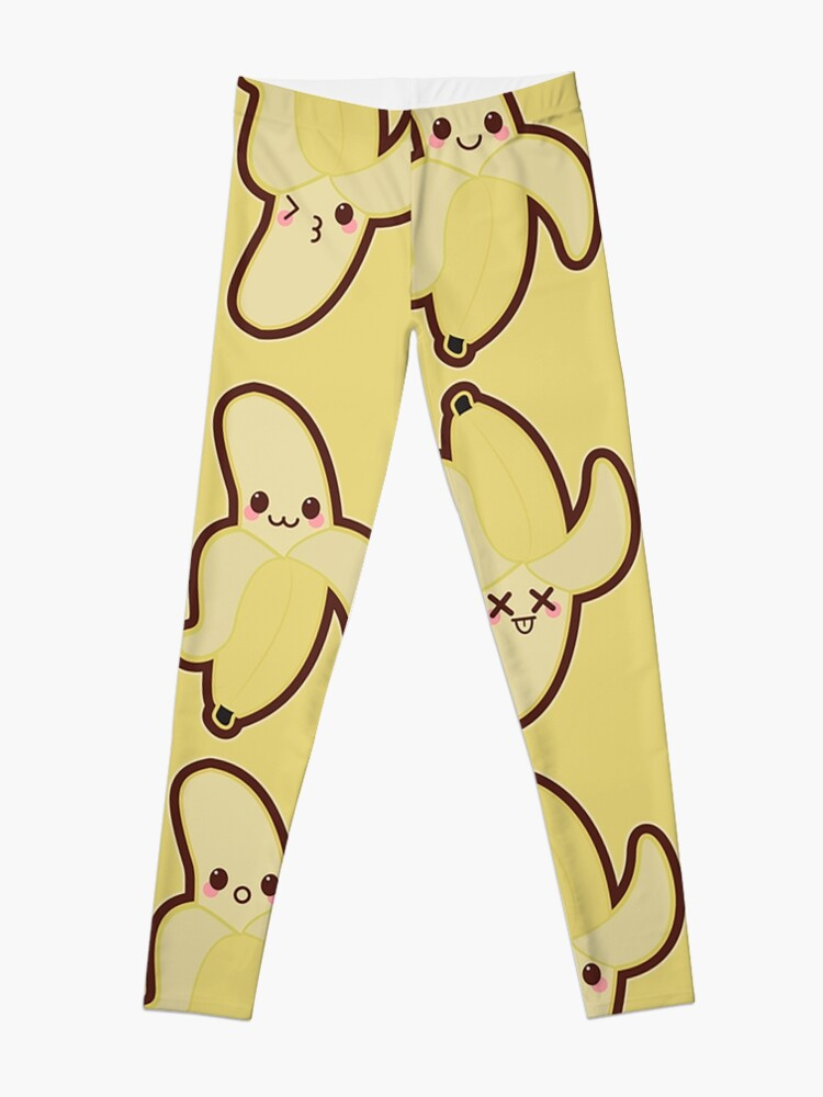 Kawaii Banana Cute Pattern Wallpaper Leggings
