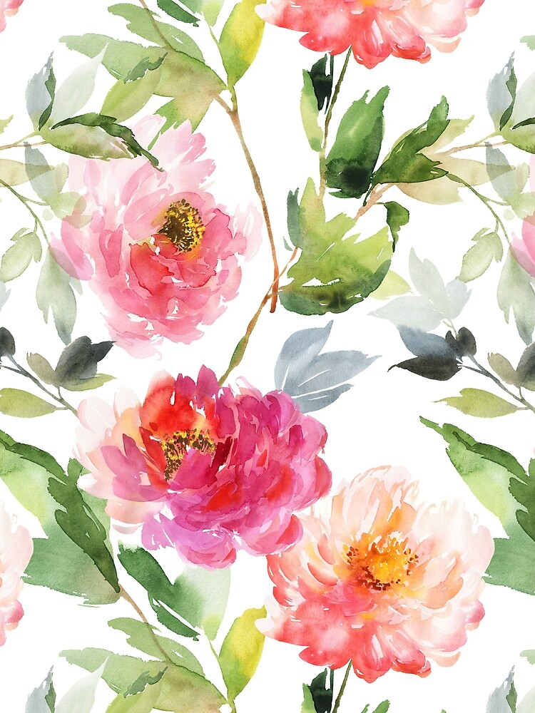 Peonies Pink Watercolor Pattern by junkydotcom
