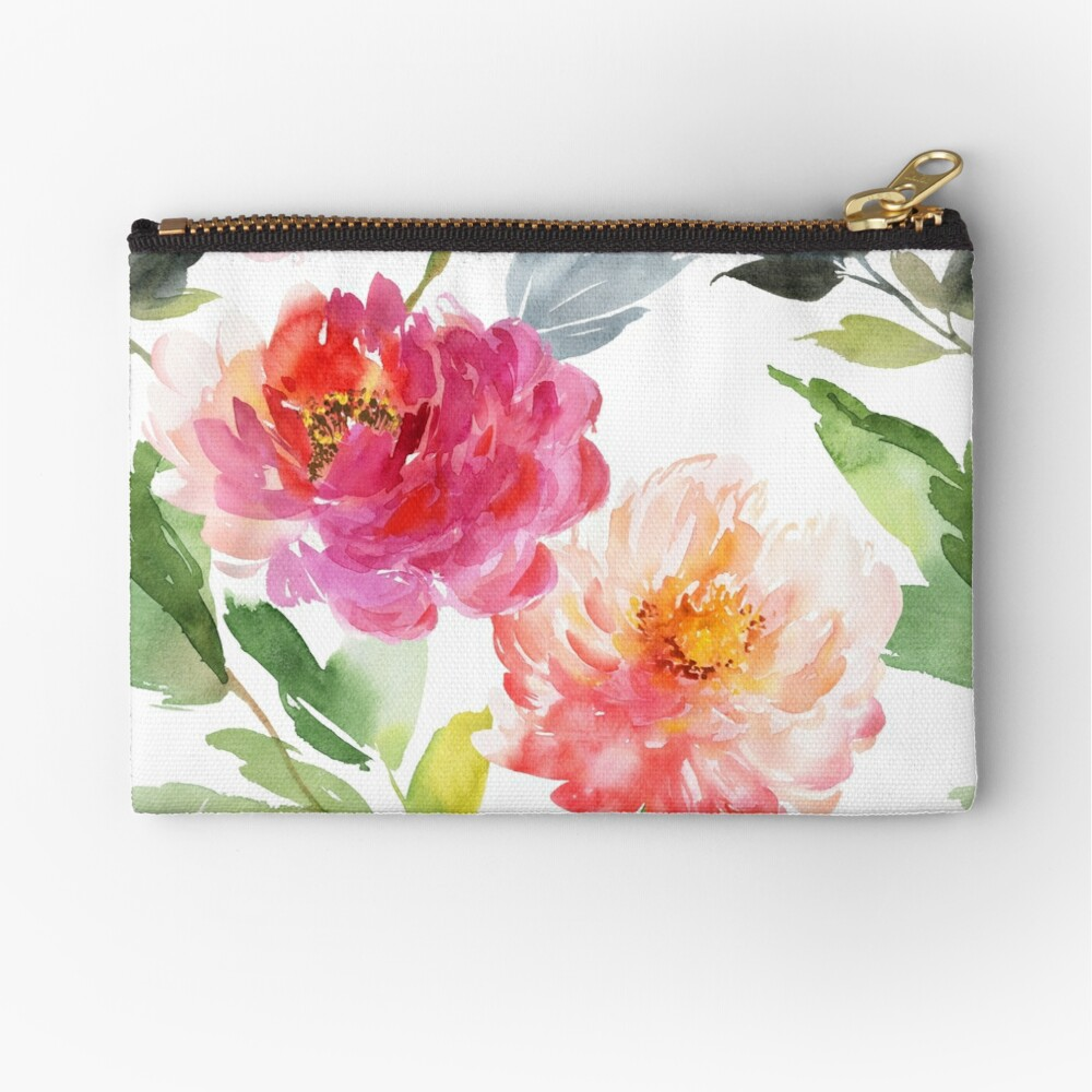 Peonies Pink Watercolor Pattern Zipper Pouch