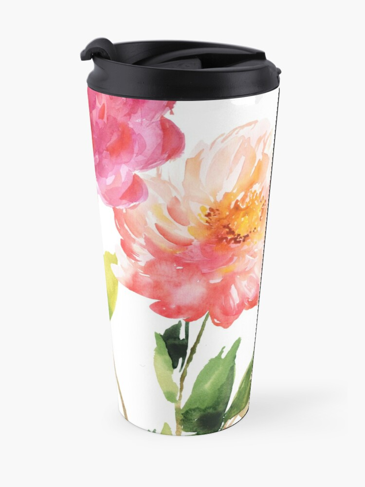 Alternate view of Peonies Pink Watercolor Pattern Travel Mug