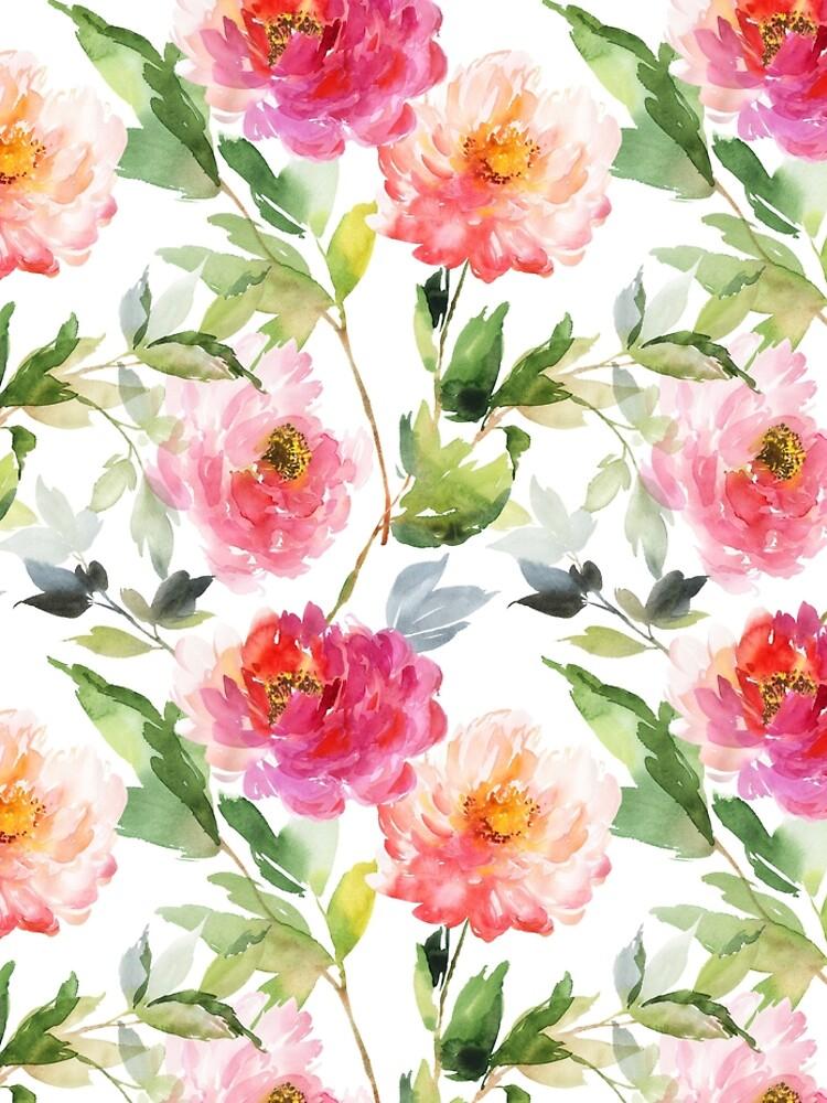 Peonies Pink Watercolor Pattern by junkydotcom