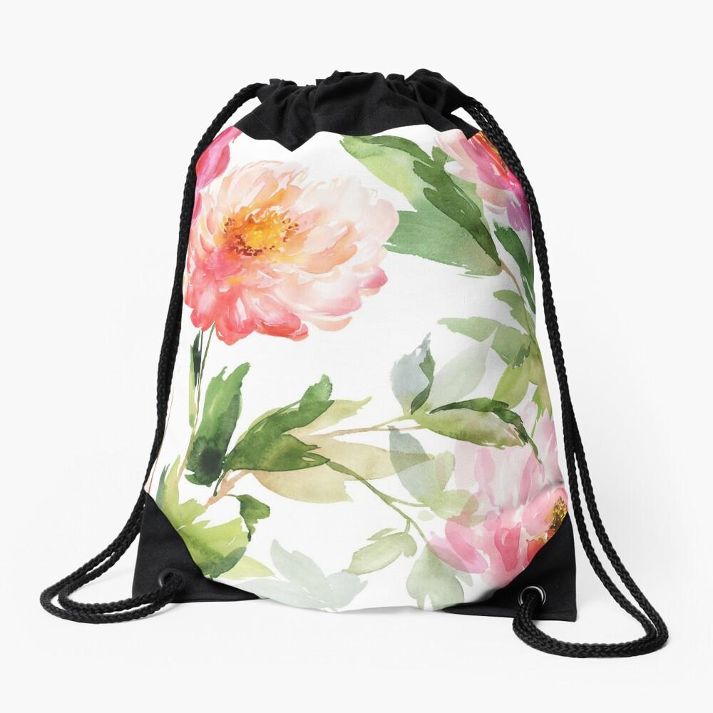 Peonies Pink Watercolor Pattern Drawstring Bag