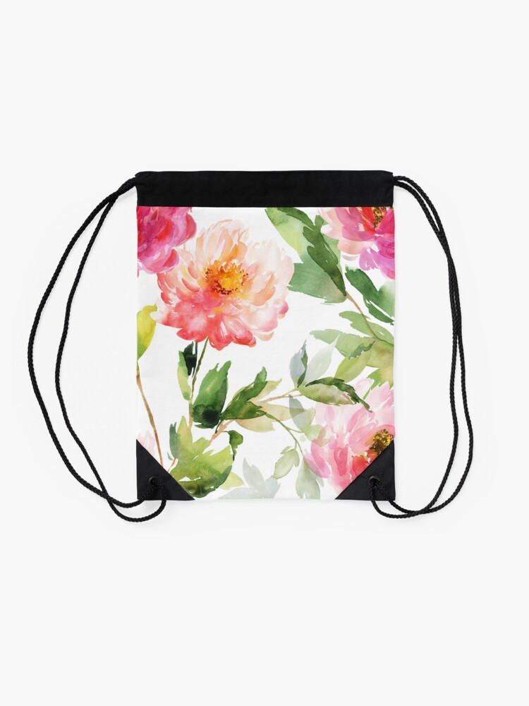 Alternate view of Peonies Pink Watercolor Pattern Drawstring Bag