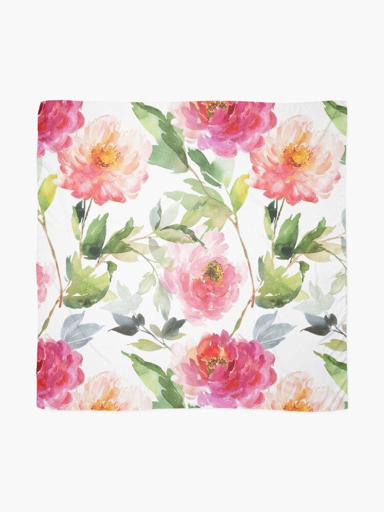 Alternate view of Peonies Pink Watercolor Pattern Scarf