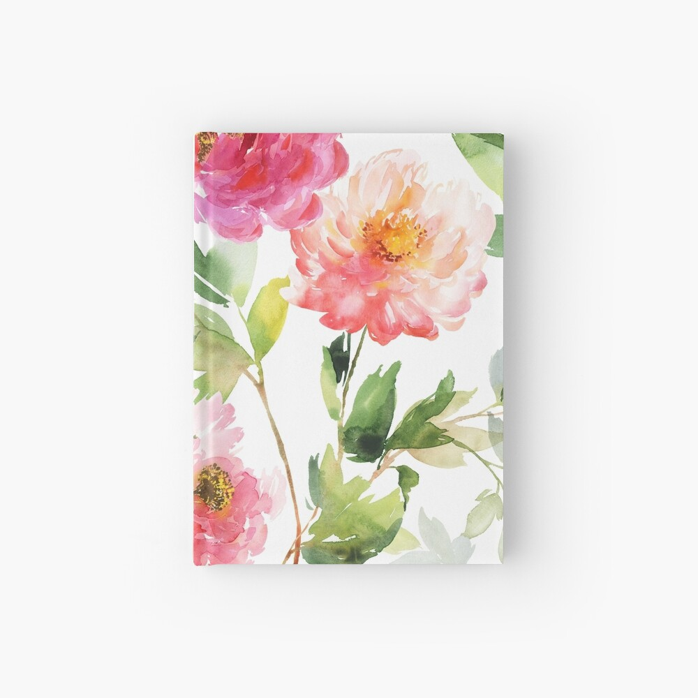 Peonies Pink Watercolor Pattern Hardcover Journal